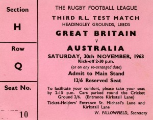 Ticket to 1960s cricket international