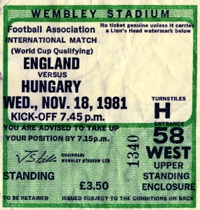 Ticket from England v Hungary football match